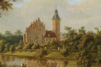 Kasteel Rechteren uit het NO, midden 19e eeuw